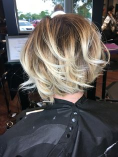 Balayage short bob. Textured waves. Beige and pearl blonde. Olaplex