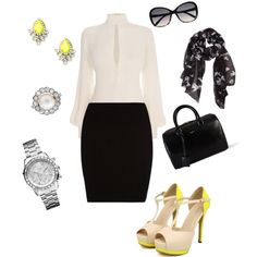 """""""business lady with a touch of neon"""" by prudence-sarah on Polyvore"""