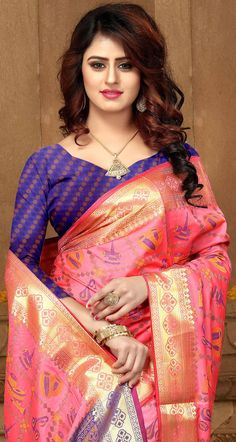 Buy Radiant Pink Colored Festive Wear Heavy Banarasi Silk Saree at Rs. Get latest Festive wear saree for womens at Peachmode. Sarees Online India, Silk Sarees Online, Beautiful Saree, Beautiful Dresses, Bollywood Costume, Saree Models, Indian Bridal Fashion, Elegant Saree, Most Beautiful Indian Actress