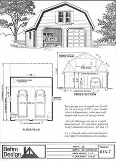 Perfect SUV Sized Two Car Garage With Gambrel Attic Truss Roof Plan 676 7 26u0027
