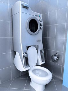 modern toilet and washer, eco friendly home appliances, water saving bathroom design