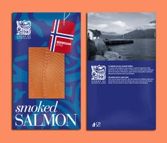 Packaging norwegian smoked salmon, by daliadesign. Smoked Fish, Smoked Salmon, Norwegian Style, Fish House, Fish And Meat, Food Packaging, Package Design, Raw Food Recipes, Reptiles