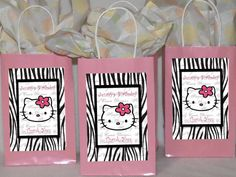 DIY hello kiity party | Hello Kitty Zebra Pintable DIY Personalized Favor Tags Large for Party ...