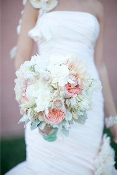 romantic peach blushes white and grey wedding flower bouquet, bridal bouquet, wedding flowers, add pic source on comment and we will update it. www.myfloweraffair.com can create this beautiful wedding flower look.