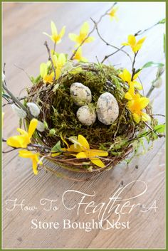 Easy and pretty spring diy. Use a plain store bought nest to emblellish and create a one of a kind spring decor for you home. Spring Is Here, Hello Spring, Seasonal Decor, Holiday Decor, Welcome Spring, Hoppy Easter, Arte Floral, Spring Has Sprung, Spring Crafts
