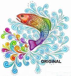 Rainbow Fish Art Cross Stitch Pattern