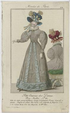 Anonymous   Petit Courrier des Dames, 1825, No. 274 : Robe de Satin garnie de fourure..., Anonymous, Dupré (uitgever), 1825   Staande vrouw gekleed in een japon van satijn, afgezet met bont. Het lijfje 'à la françois 1er.', versierd met een agrafe met edelstenen. Op het hoofd een hoed van blauw fluweel, versierd met aigrette van goudkleurige 'filagrame'(?) en linten van goudkleurige stof, 'des Magasins de  Mure'. Verdere accessoires: twee armbanden om de linkerpols, handschoenen, ceintuur…