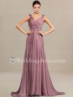 Empire Waist Wedding Guest Dress with V-Neck MO055; low back with the corset behind, not sure about how the drapes flow and what they will do to my curves; to get ivory would be a custom color order; very unusual dress
