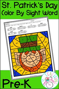 These Pre-K Color By Code Sight Word activities are perfect for St. Patrick's Day! NO PREP! Simply print and go! A black and white student version is included along with a color-coded answer key. Use these Color By Code Sight Word activities for: Daily 5 – Work on Words, Early Finisher Activities, ELL and ESL Activities, Emergency Sub Tub Activities, Holidays, Homeschool, Homework, Inside Recess Activities, Literacy Center Activities, Morning Work, RTI, SLP Activities, and Thematic Units.