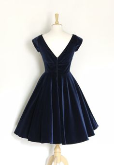 Midnight Blue Velvet Evening Dress with Circle by digforvictory