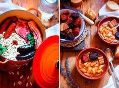 cocotte y soperas para receta fabada asturiana Cuban Cuisine, Cooking Recipes, Healthy Recipes, Spanish Food, Pot Roast, Chocolate Fondue, Allergies, Ethnic Recipes, Desserts