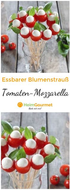 Hübscher Tomaten-Mozzarella-Blumenstrauß Because the eye is with! Here is the recipe for our tomato mozzarella bouquet The post Pretty Tomato Mozzarella Bouquet appeared first on Leanna Toothaker. Holi Party, Snacks Für Party, Appetizers For Party, Antipasto, Easy To Digest Foods, Low Fat Yogurt, Whole Wheat Pasta, Party Buffet, Cereal Recipes