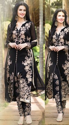 Trendy black georgette parallel pant suit which is decked with floral resham embroidery work all over and lace work on the border. This outfit comes with a matching embroidered bottom and dupatta attached with this outfit.This Salwar Kameez can be stitched in the maximum bust size of 42 inches and top length is 48 inches.