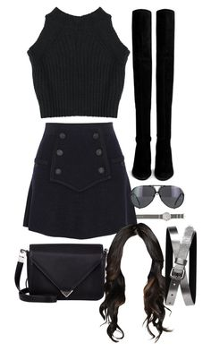 """Inspired outfit for a night with friends"" by pagesbyhayley ❤ liked on Polyvore featuring J.Crew, Isabel Marant, Alexander Wang, Stuart Weitzman, Porsche and Banana Republic"