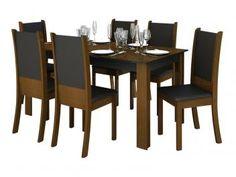 Conjunto de Mesa com 6 Cadeiras Estofadas Madesa - Melissa