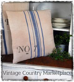 Vintage Country Style: French Grain Sack Pillow Tutorial