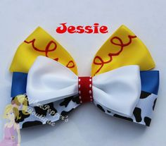 Character inspired hair bow Jessie!! Measures about 4.5 across    Headbands available for an extra $1.00 please ask to add on before purchasing