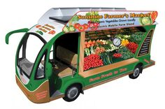 Solar Electric Mobile Farm Stand - designed on the side is a good explanation of business