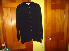 NWT Ladies Jospehine Chaus Sport XL Black Moroccan Style Button Down Shirt #JosephineChausSport #MoroccanStyle #Casual