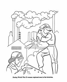 US History Coloring Page: Women working in factories during WWII