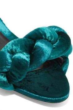 Marco De Vincenzo - Braided Velvet Slides - Teal - IT35.5