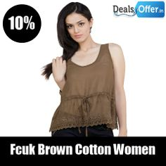 Fcuk Brown Cotton Women – Tops @ 10% Off