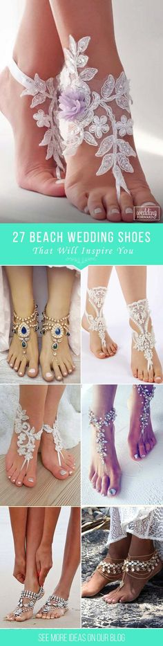 27 Beach Wedding Shoes That Inspire ❤ Today we want to show you how to polish your bridal look! We would like to inspire you with awesome beach wedding shoes and footwear. See more: http://www.weddingforward.com/beach-wedding-shoes/ 