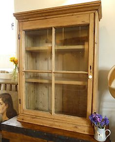 STRIPPED PINE CABINET Vintage Bookcase OLD WOODEN KITCHEN CUPBOARD China Cabinet | eBay