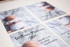 Birth announcement featuring photography.