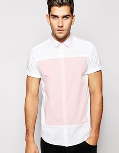 Shop the latest ASOS Shirt In Short Sleeve With Cut And Sew Square trends with ASOS! Shirt Logo Design, Vertical Striped Shirt, Half Shirts, Men Shirts, Pant Shirt, Shirt Cuff, Fashion Night, Men Casual, Smart Casual