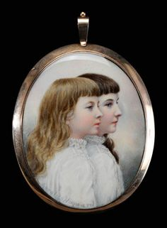 Gerard Sinclair Hayward (British, 1845 to 1926), a miniature portrait of Two Children in Profile, signed at bottom