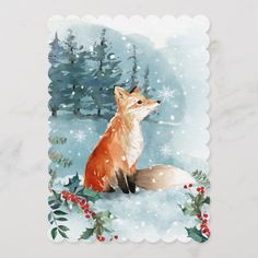 Shop Woodland Fox Watercolor Christmas Forest Holiday Card created by JunkyDotCom. Personalize it with photos & text or purchase as is! Watercolor Christmas Cards, Christmas Drawing, Christmas Paintings, Christmas Art, Painted Christmas Cards, Christmas Landscape, Watercolor On Wood, Watercolor Cards, Watercolor Paintings