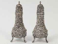 KIRK REPOUSSE STERLING SILVER SALT AND PEPPER SHAKER