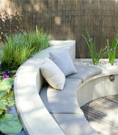An Outdoor Lifestyle = Water garden seating Built In Garden Seating, Built In Bench, Outdoor Seating, Outdoor Rooms, Outdoor Gardens, Outdoor Living, Outdoor Decor, Outdoor Ideas, Backyard Seating
