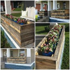 Planter boxes made from repurposed wooden pallets.