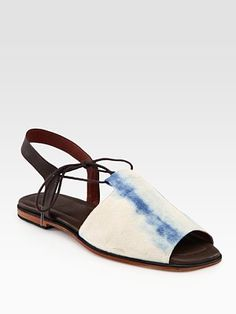 Rachel Comey Kiefer Tie-Dyed Canvas and  Leather-Trim Slingback Sandals
