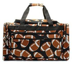 A personal favorite from my Etsy shop https://www.etsy.com/listing/228869159/personalized-duffle-football-bag-gym-bag