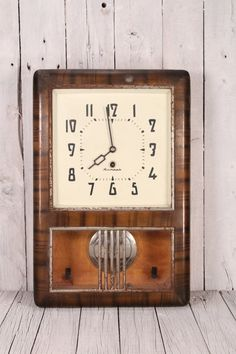 Vintage USSR Soviet Mechanical Wall Clock Jantar, Wood Case, Pendulum Soviet Clock, Pendulum Collect, Mechanical Wall Clock, Working