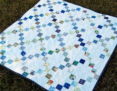 Blue Squares Quilt by becauseimme, via Flickr