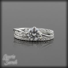 Diamond Twisted Shank Engagement Ring with Dainty 1.5mm wide Diamond Wedding Band - LS2683