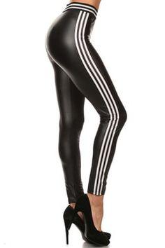 Racer Stripes Faux Leather leggings