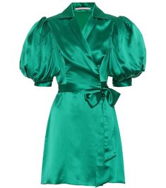 Opt for a glamorous alternative to simple wrap silhouettes with Alessandra Rich's emerald green minidress. This statement making piece has been crafted in Italy from glossy silk satin, and features tulle inserts in the . Silk Coat, Jacquard Dress, Wrap Dress Floral, Green Silk, Vintage Glamour, Crepe Dress, Satin Dresses, Alternative Fashion, Silk Satin