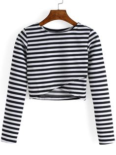 Round Neck Striped Cropped Tshirt 8.90