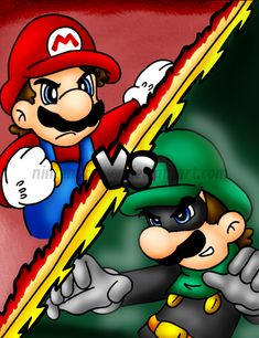 Mr.L vs Mario by Nintendrawer.deviantart.com on @deviantART