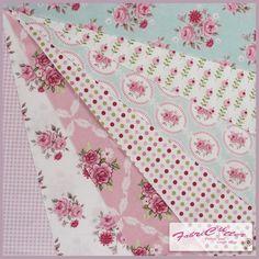 Tilda Fabric Pink/Teal Bundle - 16 cm & 32 cm squares pack of 7 pieces | eBay
