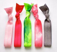 Tie Dye Elastic Hairbands -Tie Dye Ponytail Holders - Hair Accessories - Pink Green Tie Dye Gray - Knotted Hair Ties. $6.99, via Etsy.