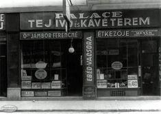1936. Dohány utca 43., Palace Tejivó és Kávéterem (özv. Jámbor Ferencné Étkezője), az utca másik oldalán a Csillag tejivó és egy drogéria volt Budapest, Utca, Hungary, Design