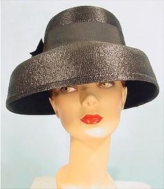 """c. late 1950's/early 1960's  CHRISTIAN DIOR Chapeaux, Paris, NY  Black Straw """"Audrey"""" Lampshade Hat"""