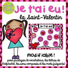 Je tai eu! is a fun way to get your students to practice just about any skill you like! This set includes game boards to practice vocabulary, letter names/sounds, sight words,  sons composs  (ou, on, oi), and a couple of editable game boards so that you can have your students practice anything or any words you like!To play, students need approx. 20 cubes, a partner, a game board, corresponding instruction page, and a die.