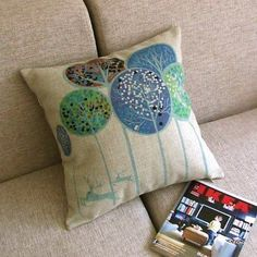 Blue Trees Deers Run in Forest Decor Pillow Case Cushion Cover Square 18